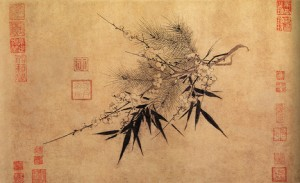 Zhao Mengjian (1199? - 1264 AD), Three Friends of Winter, in Qin Xiaoyi, ed., Famous Album Leaves of the Sung Dynasty. Taipei: Guoli gugong bowuyuan pianzhuan weiyuanhui, 1995. pl. 66, p. 222. album leaf, ink on paper, 32.2 x 53.4 cm